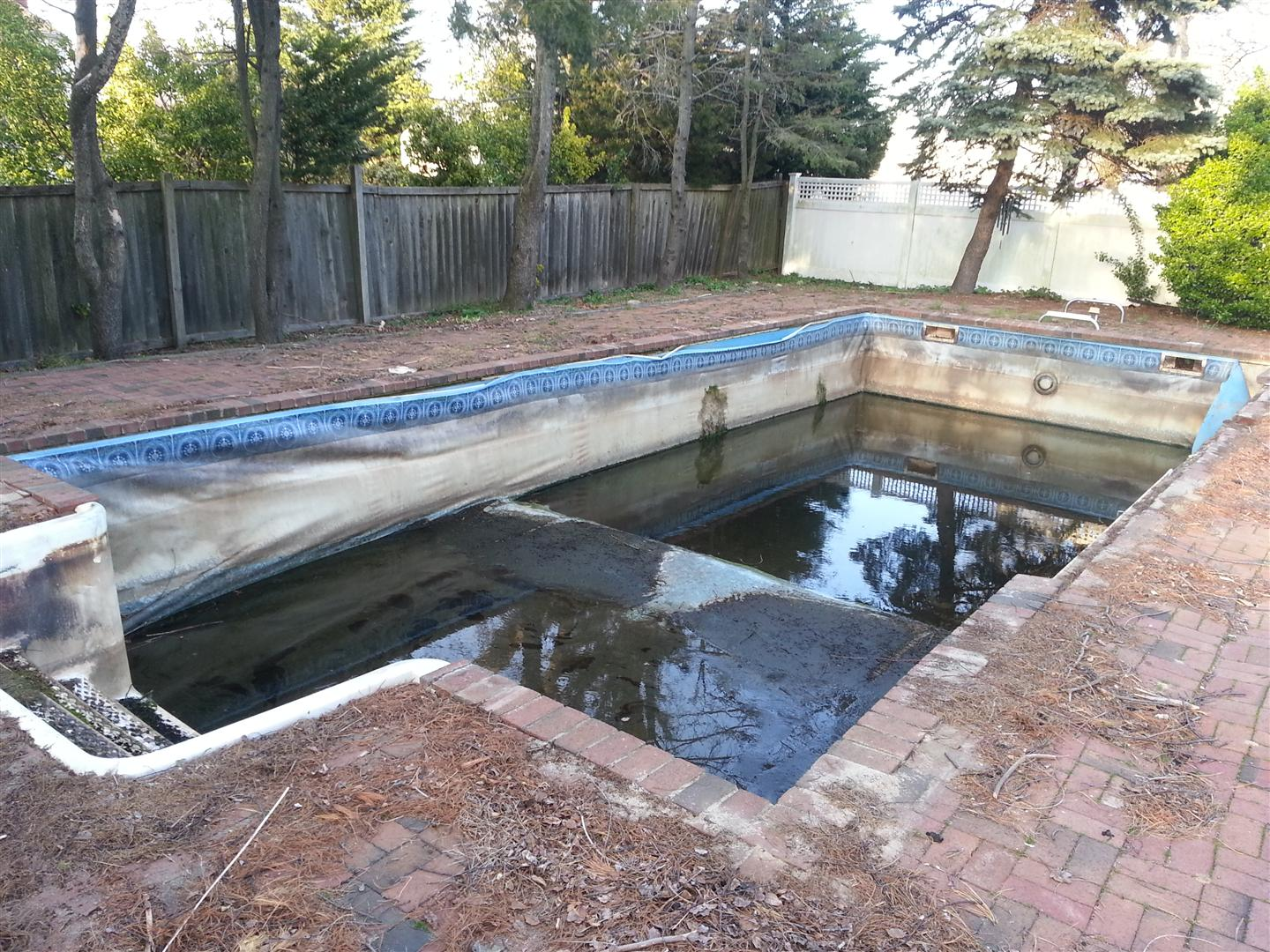 Diy ig rehab cement walls vinyl liner pool filled for In ground pool contractors