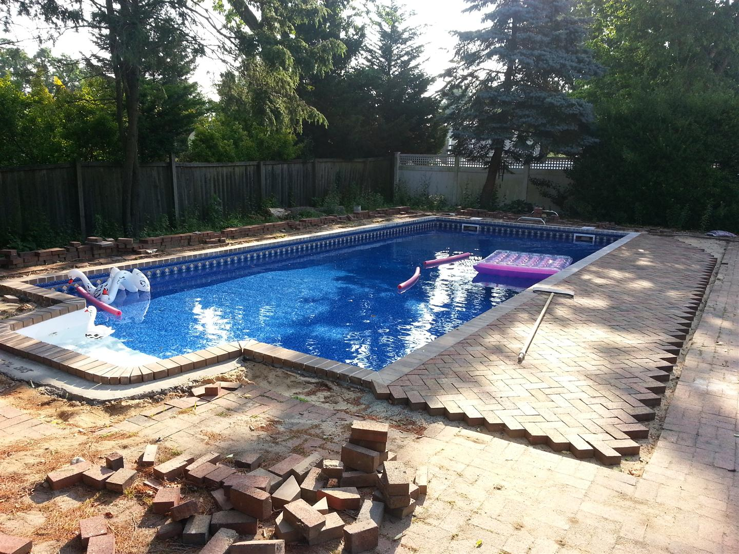 diy ig rehab, cement walls, vinyl liner - pool filled!! [archive