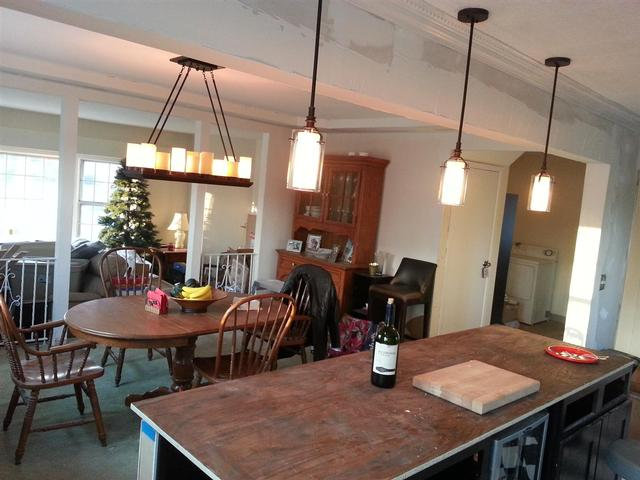182: We installed the chandelier and the pendants above the island. Unfortunately I can now see that the pendants are off center above the island by about 2 inches.  I'm hoping that nobody really notices.