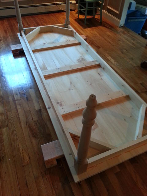 297: We attached the skirting and framework, pre drilled, glued and screwed.