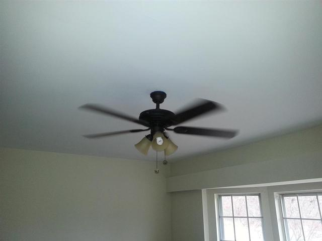 326: The new ceiling fan has been hung and wired.  It does quite a bit to help distribute the heat to the rest of the house.
