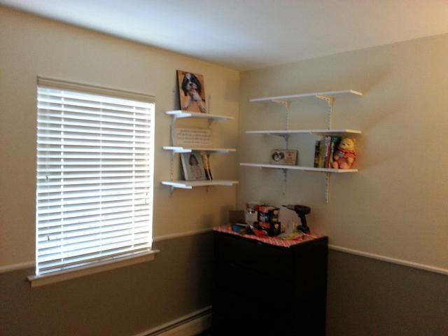 348: We put up a couple of book shelves to display the numerous pictures of Spencer.